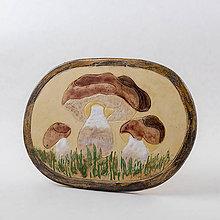 Dekorácie - Obrázok s motívom hríbov - dubáky. Rozmer 19x16,5 cm - 10524920_