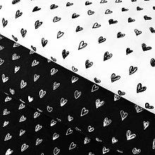 Textil - bavlnený úplet čierno-biele srdiečka, šírka 150 cm - 10522262_