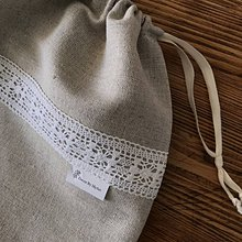 Úžitkový textil - ľanové vrecko na potraviny pečivo chlieb - 10521951_