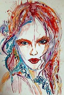 Obrazy - Akvarelový obraz Woman -Vášeň - 10522036_