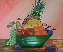 Obrazy - Misa s ovocím - 10522194_