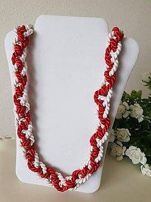Náhrdelníky - Uzlový náhrdelník červeno-biely I - 10522188_