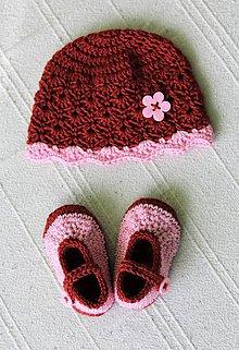 Detské súpravy - ZĽAVA: Set pre novorodenca - topánočky a čiapka - 10524636_