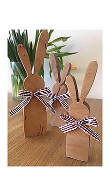 Dekorácie - veľkonočný drevený zajkovia - 10524747_