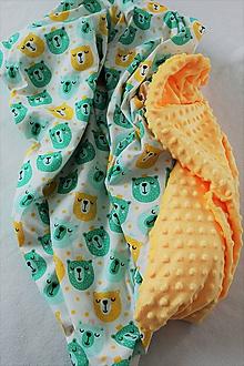 Textil - Minky deka Mackovia - biela, žltá alebo zelená, 100x70cm - 10523184_
