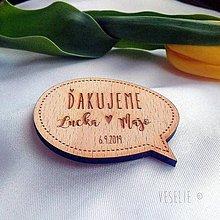 Darčeky pre svadobčanov - Svadobná magnetka alebo menovka . Bublina - 10524419_