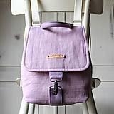 Batohy - Ľanový mini batôžtek *levanduľový* - 10522168_
