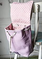 Batohy - Ľanový mini batôžtek *levanduľový* - 10522169_