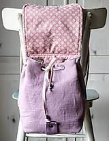 Batohy - Ľanový mini batôžtek *levanduľový* - 10522170_