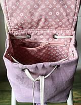 Batohy - Ľanový mini batôžtek *levanduľový* - 10522172_