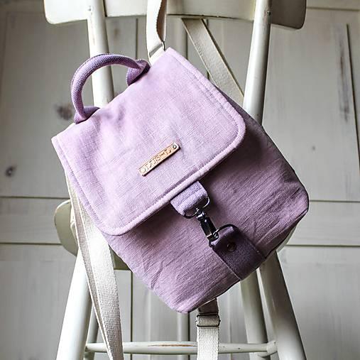 Ľanový mini batôžtek *levanduľový*