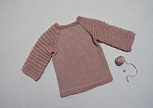 Detské oblečenie - Pletený detský pulóver ružový - 10524052_