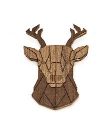 Odznaky/Brošne - Drevená brošňa - Jeleň Dark - 10522456_