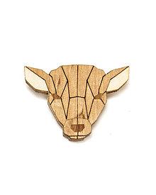 Odznaky/Brošne - Drevená brošňa - Laň Pale - 10522478_