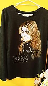 Tričká - Dámske tričko maľovaný portrét Shania Twain s dlhým rukávom - 10524121_