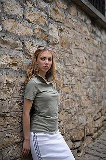 Tričká - Dámske pólo tričko olivovo zelené - 10525150_
