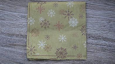 Papier - Servítka zlatá, snehové vločky, 1 ks - 10523959_