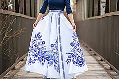 Sukne - Dlhá kruhová sukňa biela s modrým  1 - 10521668_