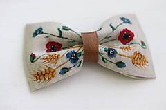 Doplnky - Lúčne kvety - maľovaný motýlik z ľanu   miniberry - 10522683_