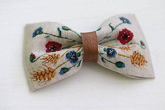 Doplnky - Lúčne kvety - maľovaný motýlik z ľanu - 10522683_