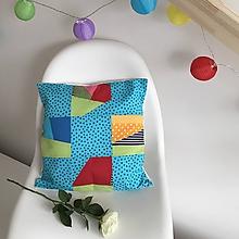 Úžitkový textil - Zbytkúšik - obliečka 40x40 (tyrkys) - 10525083_