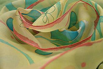 Šatky - FLEUR - maľovaná hodvábna šatka. - 10526377_