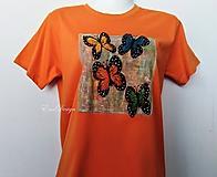 Tričká - Motýle - ručne maľované tričko - orange - 10527344_