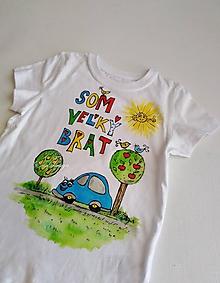 Detské oblečenie - Som veľký brat - auto- ručne maľované tričko - 10527581_