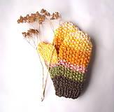 Rukavice - Palčiaky hnedo-žlté - 10527383_