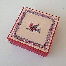 Krabičky - Krabička na čaj červená s ľudovým vzorom - 10525258_