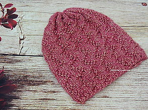 Detské čiapky - Ručne pletená čiapka s kovovým nádychom - 10528241_
