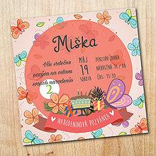 Papiernictvo - Narodeninová pozvánka - Motýľ - 10525720_