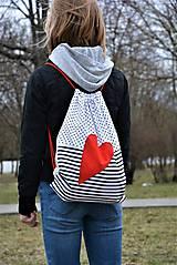 Batohy - Batoh/backpack červené srdce - 10525364_