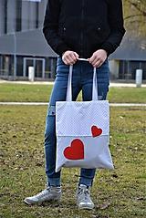 Veľké tašky - Taška/shopper červené srdcia - 10525623_