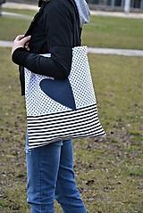 Veľké tašky - Taška/shopper jeansové srdce - 10525660_