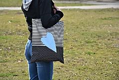 Nákupné tašky - Taška/shopper svetlomodré srdce - 10526189_