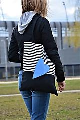 Veľké tašky - Taška/shopper modré srdce - 10526233_