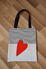 Veľké tašky - Taška/shopper červené srdce - 10526541_