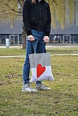 Veľké tašky - Taška/shopper červené srdce - 10526542_