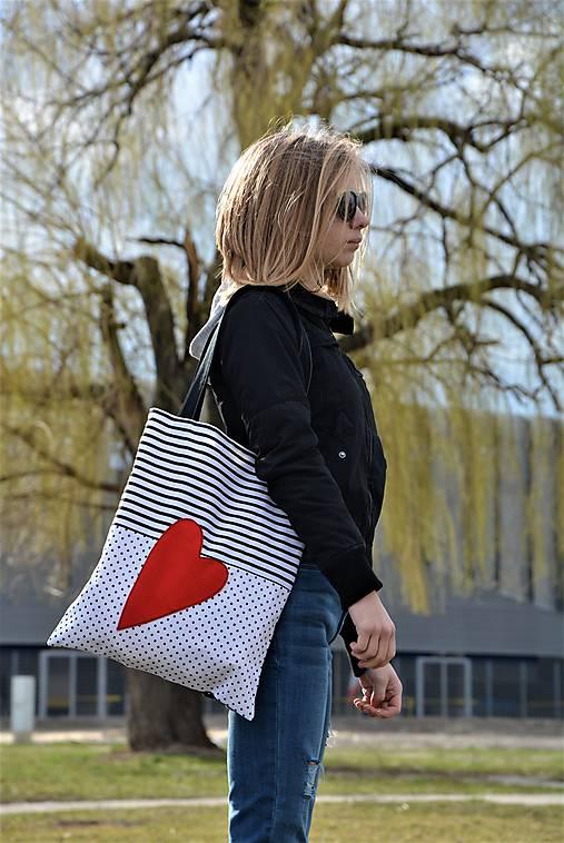 Taška/shopper červené srdce