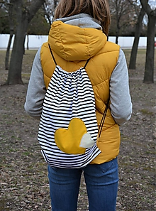 Batohy - Batoh/backpack žlté srdce II - 10525305_
