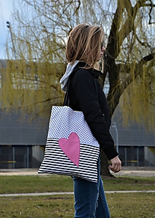 Kabelky - Taška/shopper ružové srdce - 10526489_