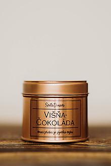 Svietidlá a sviečky - Sójová sviečka v plechovke - RoseGold - Višňa&Čokoláda - 10525304_