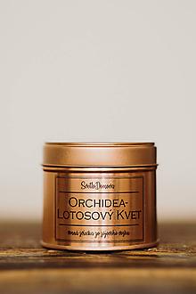 Svietidlá a sviečky - Sójová sviečka v plechovke - RoseGold - Orchidea&Lotosový Kvet - 10525314_