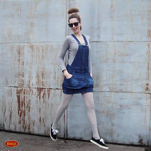 Šaty - výrazná elastická džínová sukně s laclem, balonová - 36,38,40,42 - 10525809_