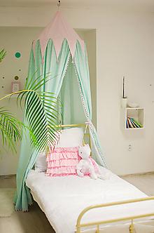 Textil - Ružovo mentolkový baldachýn - 10528889_