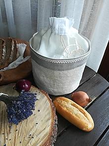 Úžitkový textil - Ľanový košík a vrecko v jednom na pečivo - 10527086_
