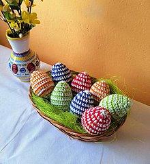Dekorácie - Háčkované vajíčka s prúžkami 8 cm - 10526218_