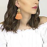 Náušnice - Zlaté náušnice s oranžovými strapcami - 10525709_