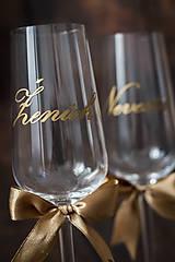 """Papiernictvo - Zlatá nálepka na svadobný pohár - Nevesta / Ženích (Nálepka """"ŽENÍCH"""") - 10527497_"""